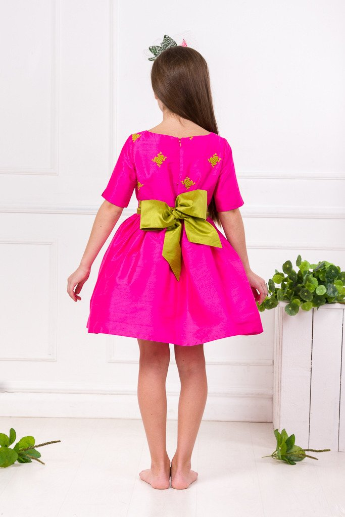 Lazy Francis Fuchsia Silk Magic Frog Full Girls Designer Dress back exclusive sale