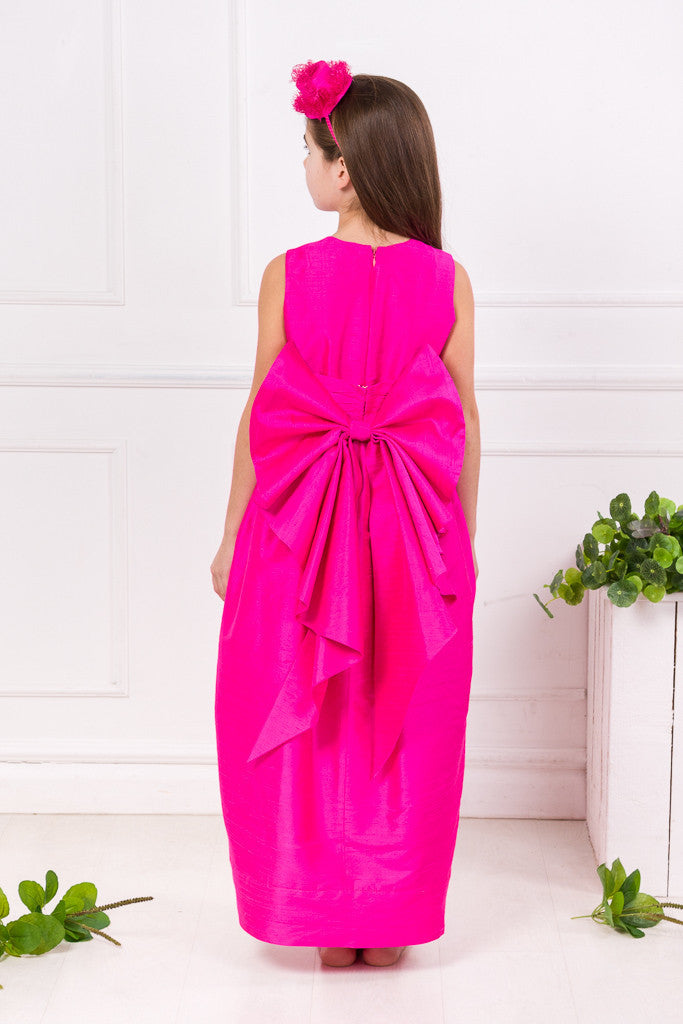Fuchsia Silk Maxi Couture Girls Dress Dresses Lazy Francis at Kids Emporium by Lazy Francis - Shop in store at 406 Kings Road, Chelsea, London or shop online at www.kidsemporiumonline.com