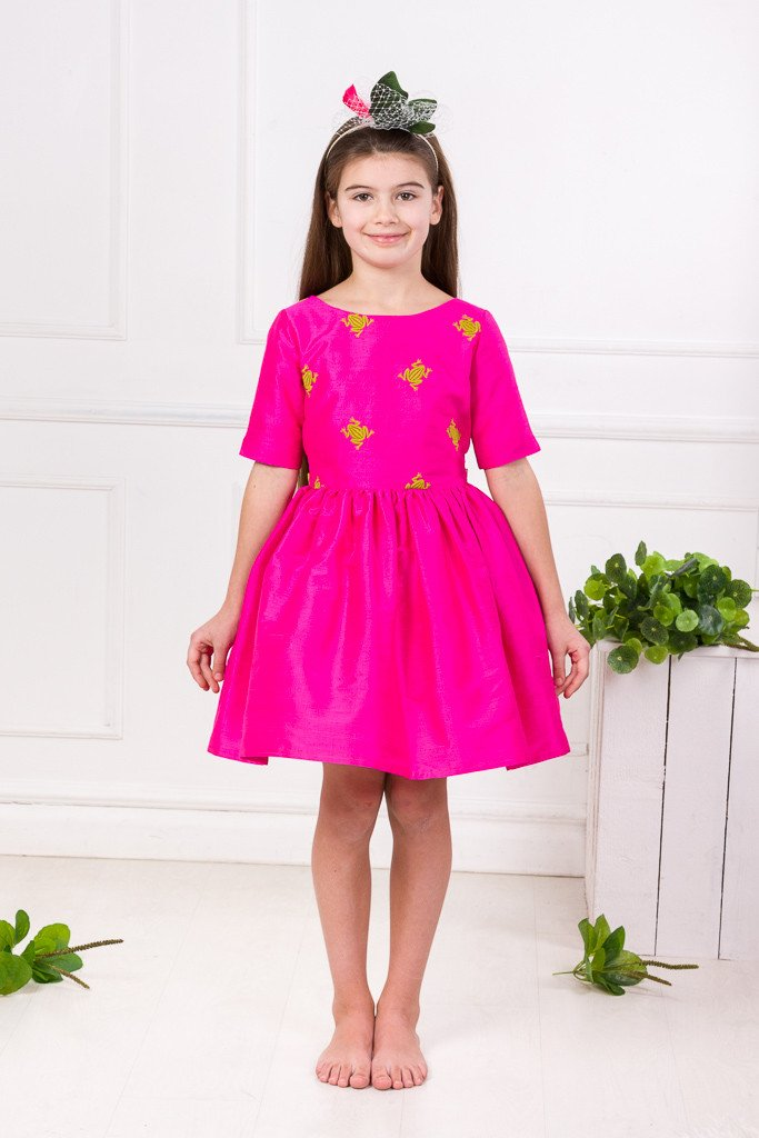 Lazy Francis Fuchsia Silk Magic Frog Full Girls Designer Dress front sale