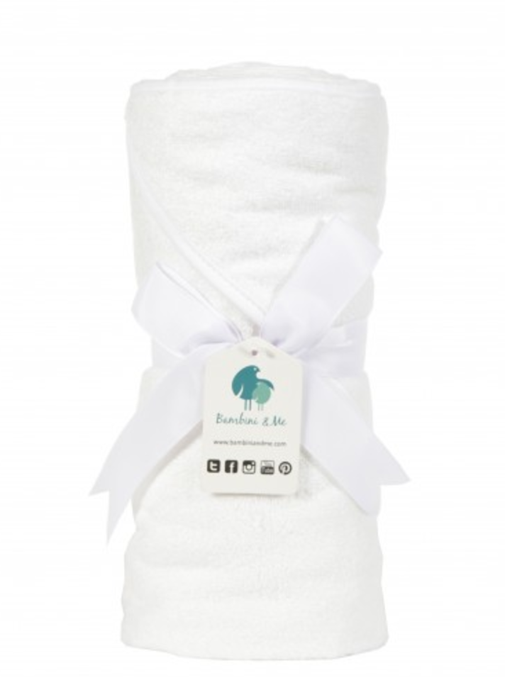 White Over-sized Bamboo Baby Hooded Towel  Bambini & Me at Kids Emporium by Lazy Francis - Shop in store at 406 Kings Road, Chelsea, London or shop online at www.kidsemporiumonline.com