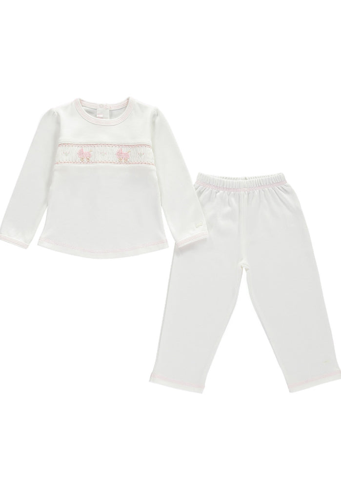This stunning pink and white two piece pyjamas set will keep your little princess nice and cosy made from organic cotton by Bebe Bombom.