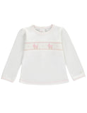 White & Pink Embroidered Baby Girls Handsmocked Pyjama Set - Bebe Bombom Baby clothes Bebe Bombom at Kids Emporium by Lazy Francis - Shop in store at 406 Kings Road, Chelsea, London or shop online at www.kidsemporiumonline.com