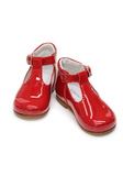 Red Lacquer T-Bar Baby Shoes by Lazy Francis birthday party, special occasion front sale