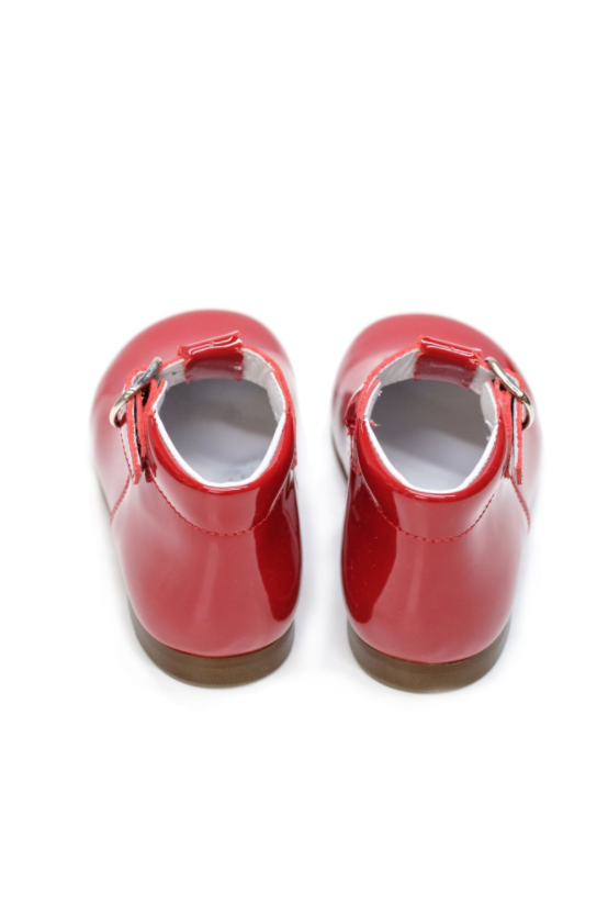 Red Lacquer T-Bar Baby Shoes by Lazy Francis birthday party, special occasion back sale