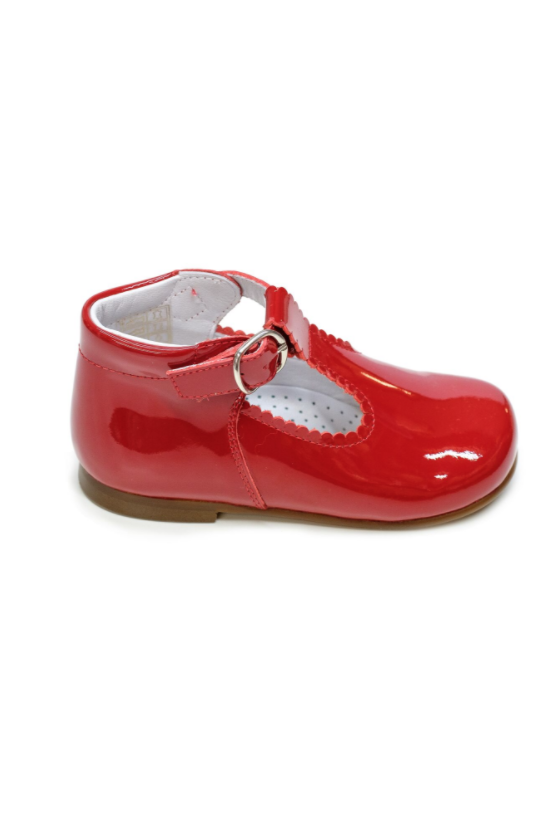 Red Lacquer T-Bar Baby Shoes by Lazy Francis birthday party, special occasion side sale