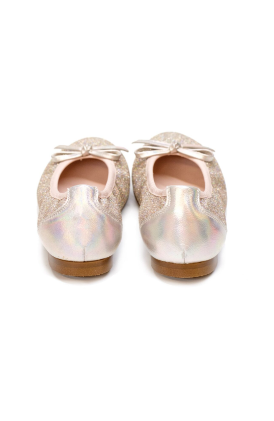 Gold Glitter Ballerina Pumps Girl Shoes Shoes Lazy Francis at Kids Emporium by Lazy Francis - Shop in store at 406 Kings Road, Chelsea, London or shop online at www.kidsemporiumonline.com