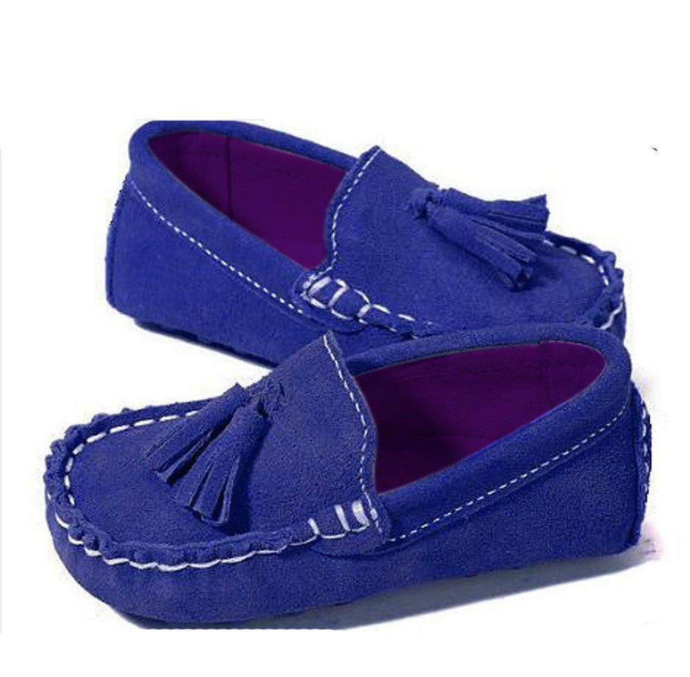 Royal Blue Boys Tassel Suede Loafers Shoes Boys Boutique at Kids Emporium by Lazy Francis - Shop in store at 406 Kings Road, Chelsea, London or shop online at www.kidsemporiumonline.com