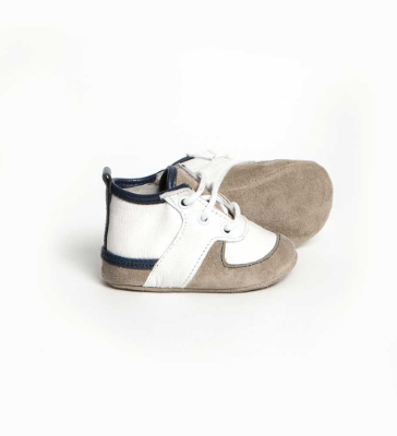 White & Navy Louie Soft Sole Baby Trainer Shoes Shoes Little Lulu's at Kids Emporium by Lazy Francis - Shop in store at 406 Kings Road, Chelsea, London or shop online at www.kidsemporiumonline.com