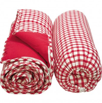 Cherry Red Gingham Sleeping Bag - Win Green Interior Win Green at Kids Emporium by Lazy Francis - Shop in store at 406 Kings Road, Chelsea, London or shop online at www.kidsemporiumonline.com