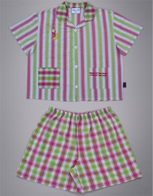Pink & Green Stripe & Check Kids Pyjamas - Sky-Hi pyjamas Sky-Hi at Kids Emporium by Lazy Francis - Shop in store at 406 Kings Road, Chelsea, London or shop online at www.kidsemporiumonline.com