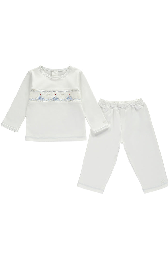 Cream Boat Baby Pyjama Set - Bebe Bombom Baby clothes Bebe Bombom at Kids Emporium by Lazy Francis - Shop in store at 406 Kings Road, Chelsea, London or shop online at www.kidsemporiumonline.com