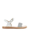 White girls glitter leather sandals from Pom D'Api feature a non slip rubber sole.