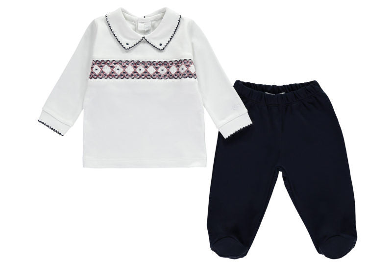 Navy Baby Boy Handsmocked Outfit - Bebe Bombom Baby Wear Bebe Bombom at Kids Emporium by Lazy Francis - Shop in store at 406 Kings Road, Chelsea, London or shop online at www.kidsemporiumonline.com