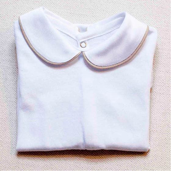 White Long Sleeve Baby Bodysuit - iPiccolini Baby Wear iPiccolini at Kids Emporium by Lazy Francis - Shop in store at 406 Kings Road, Chelsea, London or shop online at www.kidsemporiumonline.com