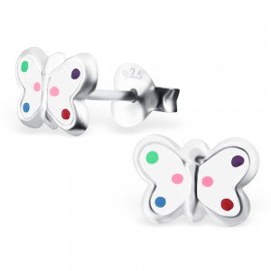 Butterfly Sterling Silver Colourful Studs ACCESSORIES Mainly Silver at Kids Emporium by Lazy Francis - Shop in store at 406 Kings Road, Chelsea, London or shop online at www.kidsemporiumonline.com