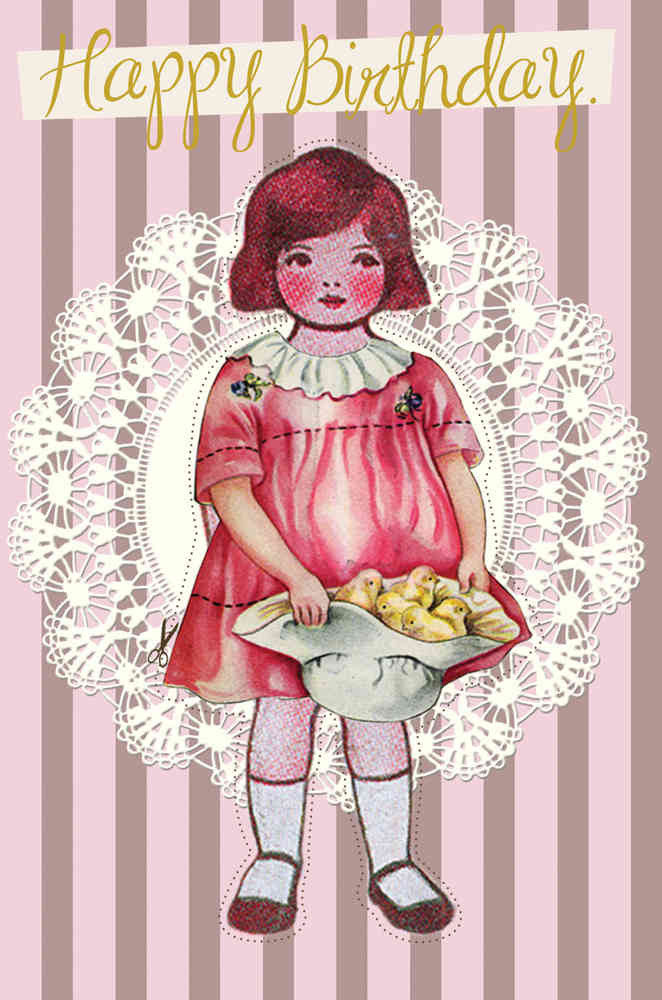 Doll Happy Birthday Post Card Card Powell Craft at Kids Emporium by Lazy Francis - Shop in store at 406 Kings Road, Chelsea, London or shop online at www.kidsemporiumonline.com