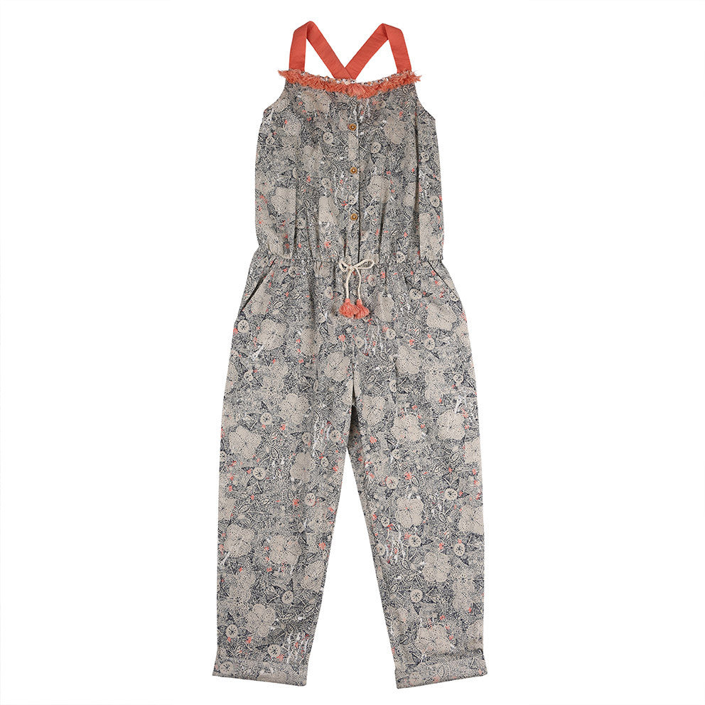 Grey Fringed Girls Jumpsuit - Outside The Lines Jumpsuit Outside the Lines at Kids Emporium by Lazy Francis - Shop in store at 406 Kings Road, Chelsea, London or shop online at www.kidsemporiumonline.com
