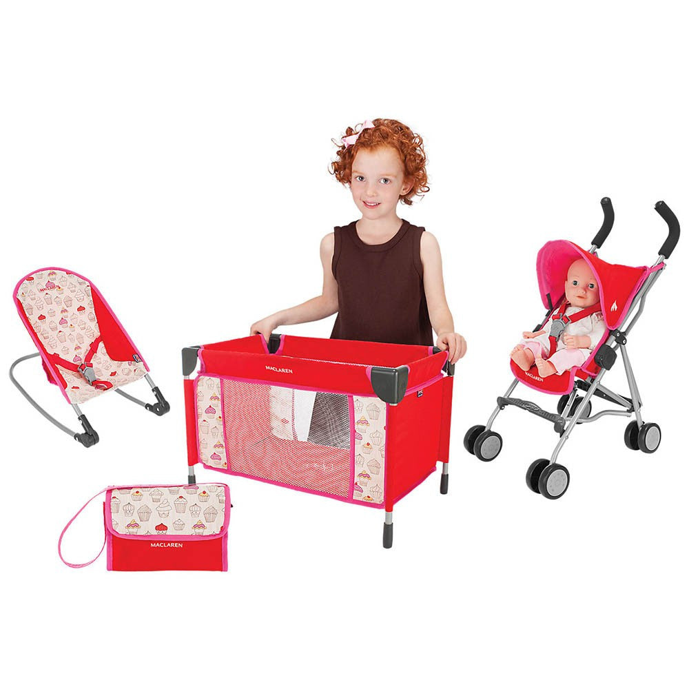 Maclaren Junior Quest Doll Deluxe Activity Set - Cupcakes Doll Pram Maclaren at Kids Emporium by Lazy Francis - Shop in store at 406 Kings Road, Chelsea, London or shop online at www.kidsemporiumonline.com