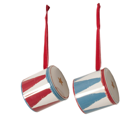 Drum Ornaments Toys Maileg at Kids Emporium by Lazy Francis - Shop in store at 406 Kings Road, Chelsea, London or shop online at www.kidsemporiumonline.com