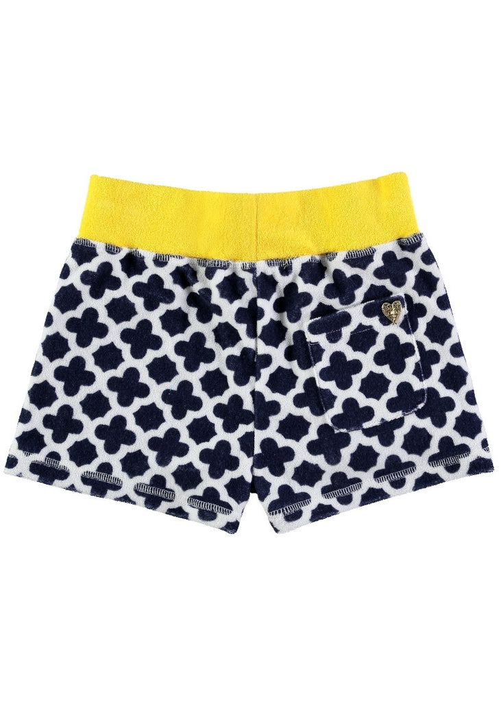 Navy Greek Key Towelling Shorts Shorts Angels Face at Kids Emporium by Lazy Francis - Shop in store at 406 Kings Road, Chelsea, London or shop online at www.kidsemporiumonline.com