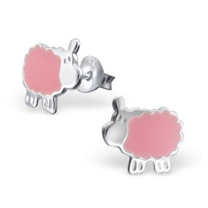 Pink Sheep Sterling Silver Ear Studs Jewellery Mainly Silver at Kids Emporium by Lazy Francis - Shop in store at 406 Kings Road, Chelsea, London or shop online at www.kidsemporiumonline.com