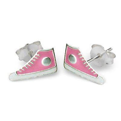 Sneaker Sterling Silver Pink Studs ACCESSORIES Mainly Silver at Kids Emporium by Lazy Francis - Shop in store at 406 Kings Road, Chelsea, London or shop online at www.kidsemporiumonline.com