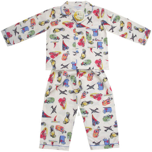 Boys  Long Sleeve Pj's with Planes & Trains pyjamas Powell Craft at Kids Emporium by Lazy Francis - Shop in store at 406 Kings Road, Chelsea, London or shop online at www.kidsemporiumonline.com