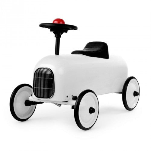 Racer White Car Baghera at Kids Emporium by Lazy Francis - Shop in store at 406 Kings Road, Chelsea, London or shop online at www.kidsemporiumonline.com