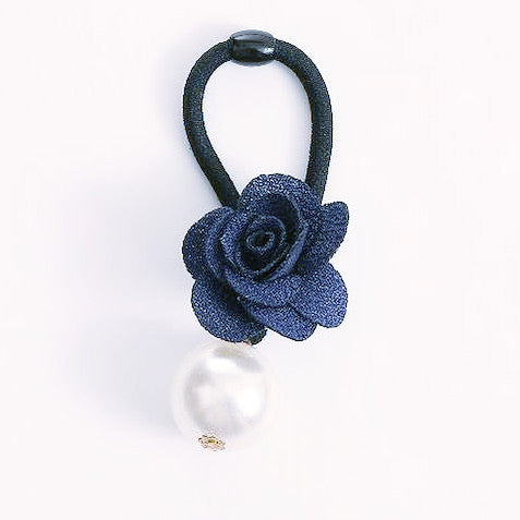 Blue Big Pearl Flower Hair Tie - Annie Apple ACCESSORIES Annie Apple at Kids Emporium by Lazy Francis - Shop in store at 406 Kings Road, Chelsea, London or shop online at www.kidsemporiumonline.com