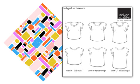 Abstract Collage & Indygo Junction Easy Top & Tunic pattern