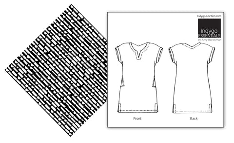 Abstract Collage fabric & Indygo Junction Shirt Dress pattern