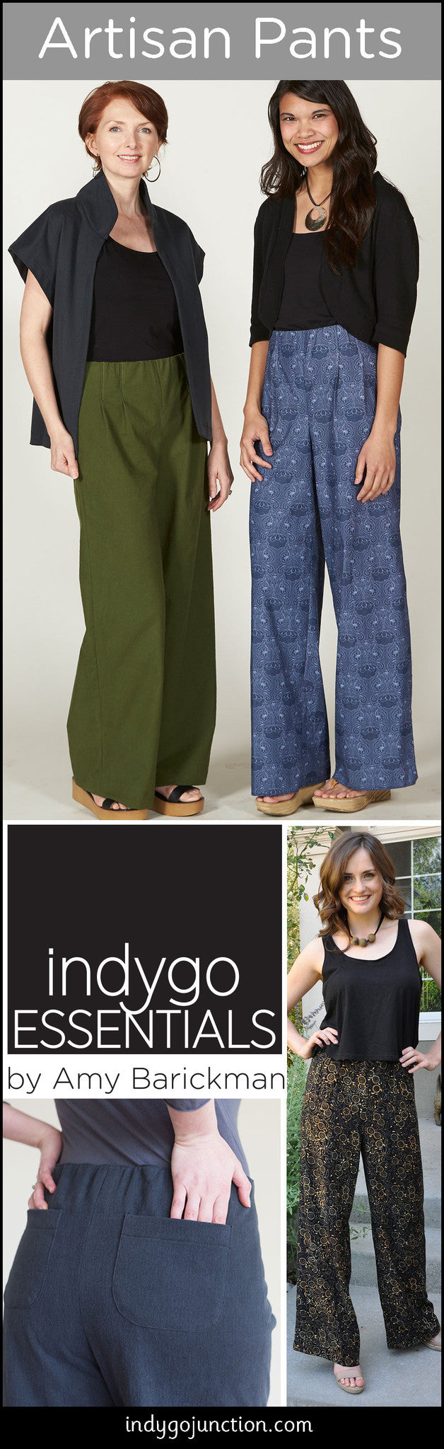 Indygo Essentials Artisan pants- sophisticated comfort, beautiful design.