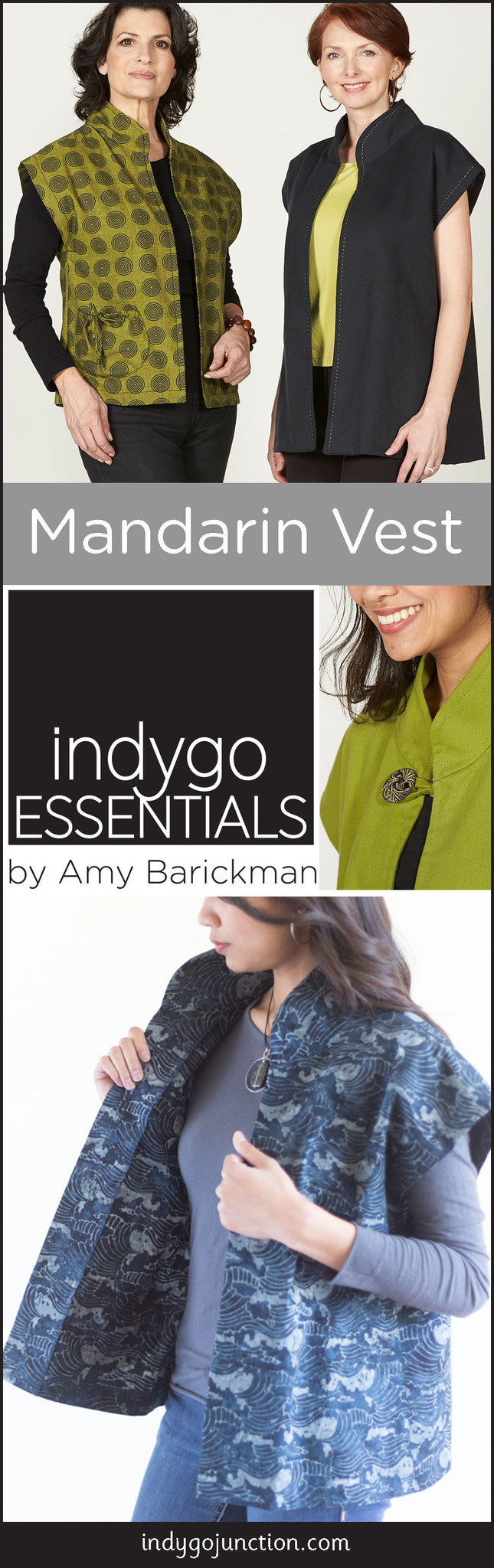 Indygo Essentials Mandarin Vest pattern is a beautiful addition to your closet!
