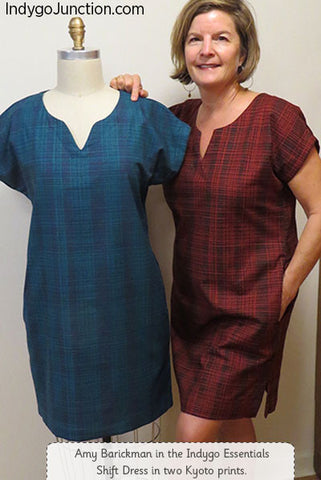 Indygo Essentials Shift Dress, modeled by designer Amy Barickman