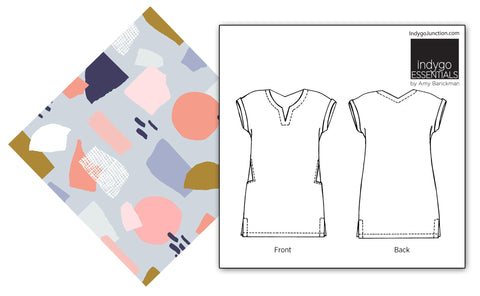 Abstract Collage print and Indygo Junction Shift Dress pattern