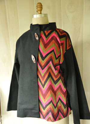 The Evangeline Coat made in Crossroads Denim Charcoal Black and Brandon Mably's Jazz Corduroy