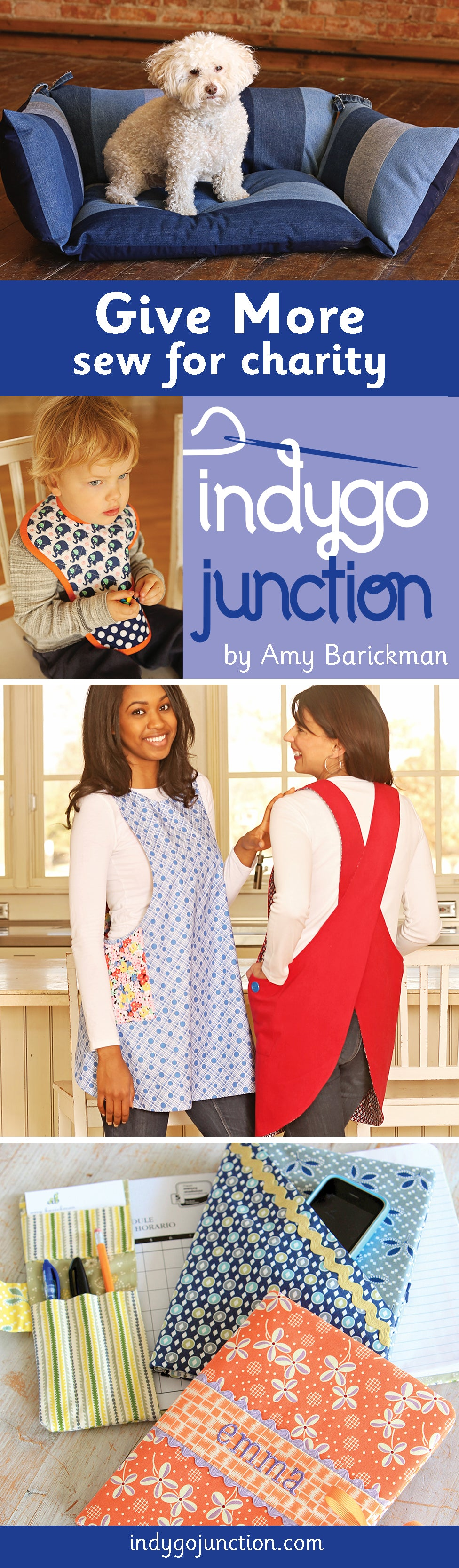 Ideas from Indygo Junction for sewing patterns perfect to make and donate to different non-profit organizations.