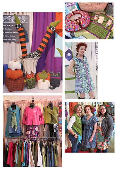 Top left: New Halloween patterns, Pumpkin Trio, Leg's Celebrate, Woody & Sam. Top Right: New casserole pattern Potluck Party Set. Middle Right: Betsy wearing the Urban Tunic made in Ty Pennington fabric. Bottom Right: Amy, Betsy & Cheryl sporting the Easy Silhouette Vest, Crossover Tunic and All in One apron. Bottom Left: Urban Tunic, Cutting Edge Jacket and Easy Silhouette Vest
