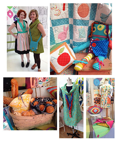 Top Left: Betsy wearing The Betsy Apron, Amy wearing the Urban Tunic and Quick Grommet Crossbody. Top RIght: New Book! Alphabet Applique Quilt and Block & Dress Me Up Monster Doll, a new pattern Bottom Left: New Pattern, Bakery Baskets Bottom Middle: The Urban Tunic made from Pat Sloan Fabrics Bottom Right: New patterns: The All For One Apron in the child's size and the Quilted Cook and Carry