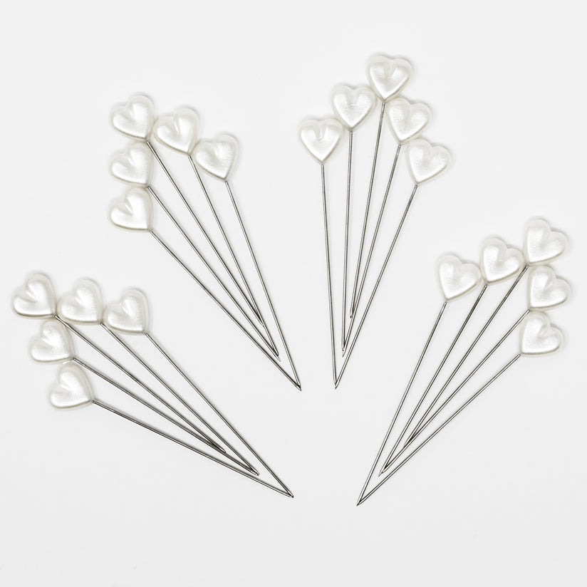 Dritz Heart Pearlized Pins, white