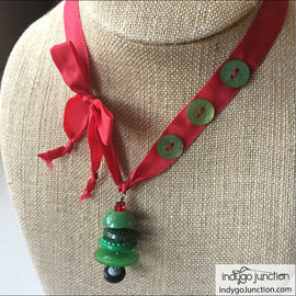 Christmas Tree Button Necklace and Ornament Digital PDF Pattern