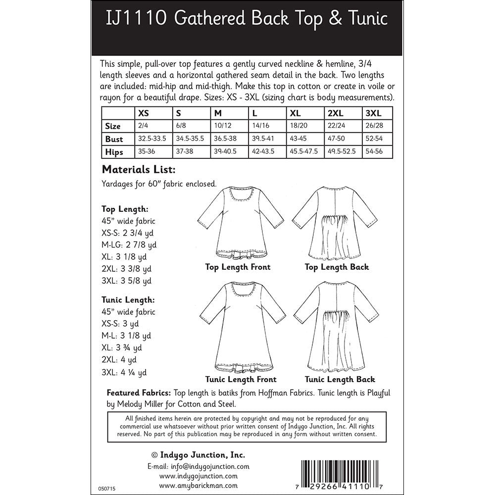 Gathered back top tunic sewing pattern by indygo junction gathered back top tunic pattern jeuxipadfo Image collections