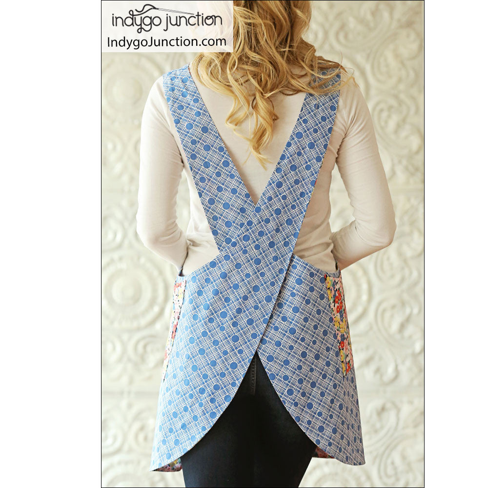 photograph about Free Printable Apron Patterns named Crossback Reversible Apron sewing practice through Indygo Junction