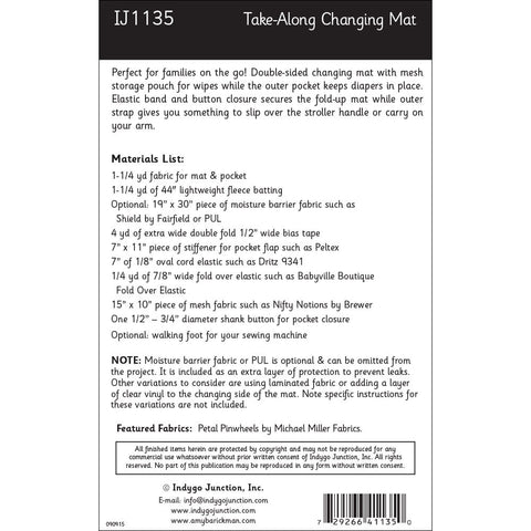 Take-Along Diaper Changing Mat Pattern