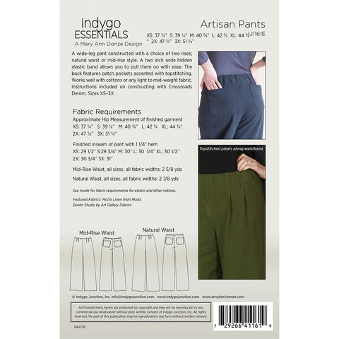 Indygo Essentials - Artisan Pants Pattern