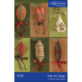 Folk Art Jingle Embroidered Felt Christmas Ornaments PDF Pattern