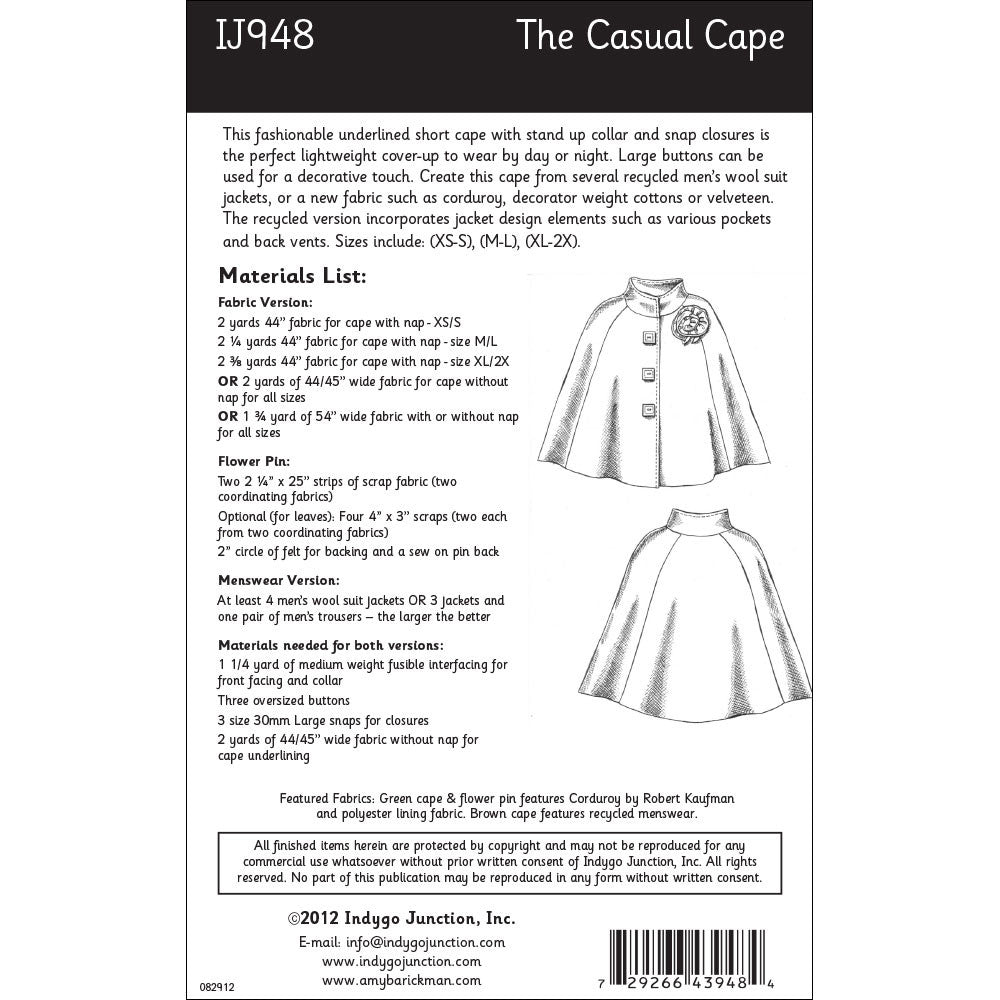 The casual cape sewing pattern from indygo junction indygojunction the casual cape pattern jeuxipadfo Image collections