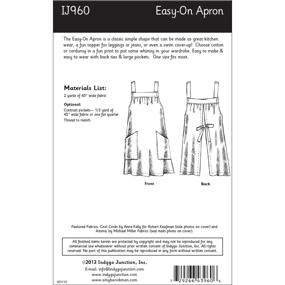 Easy On Apron Sewing Pattern From Indygo Junction Indygojunction