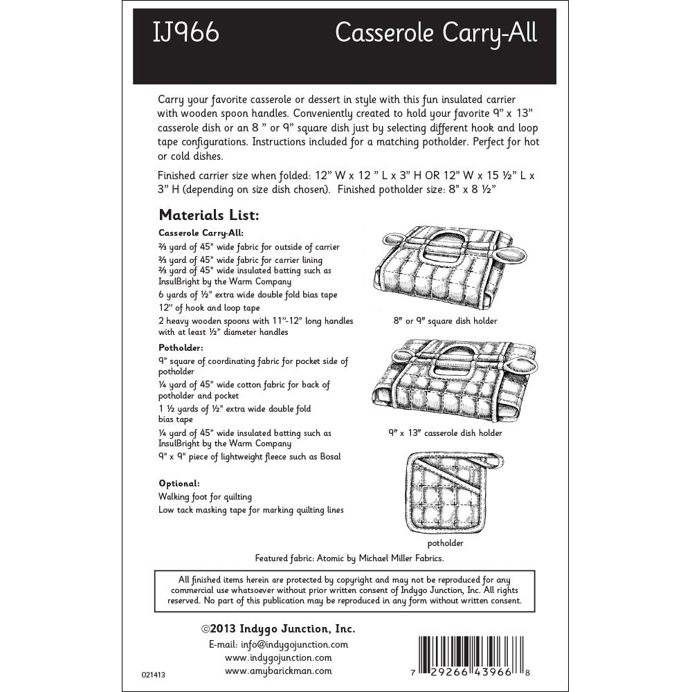 Casserole Carry All Sewing Pattern From Indygo Junction Indygojunction