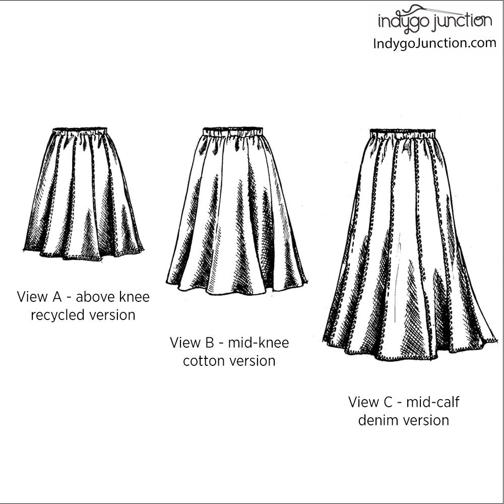 Modern Gored Skirt Sewing Pattern From Indygo Junction